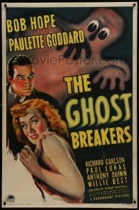 2s229 GHOST BREAKERS linen 1sh 1940 great art of Bob Hope, Paulette Goddard & wacky spooky ghost!