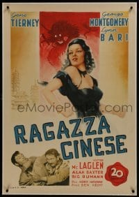 2s111 CHINA GIRL linen Italian 1sh 1947 different art of sexy Gene Tierney, Ben Hecht, very rare!