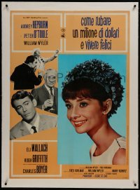 2s101 HOW TO STEAL A MILLION linen Italian 27x38 pbusta 1966 beautiful smiling Audrey Hepburn!