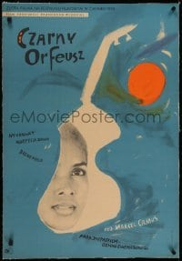 2s071 BLACK ORPHEUS linen Polish 23x33 1960 Marcel Camus' Orfeu Negro, different art by Huskowska!