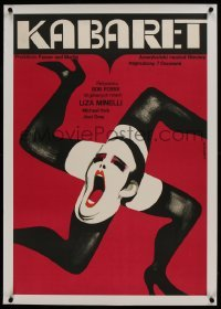 2s072 CABARET linen Polish 23x33 1973 best Gorka art of Joel Grey in leg Swastika in Nazi Germany!