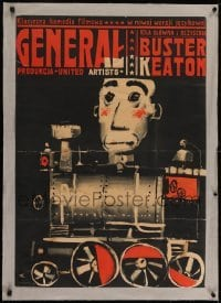 2s074 GENERAL linen Polish 23x33 R1964 different Swierzy art of Buster Keaton on train, very rare!