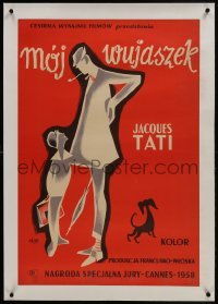 2s076 MON ONCLE linen Polish 23x34 1959 different Etaix art of Jacques Tati as My Uncle, Mr. Hulot!