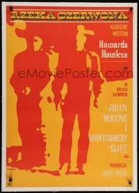 2s077 RED RIVER linen Polish 23x32 1967 Zbikowski silhouette art of Wayne & Clift, Howard Hawks!