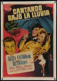 2s044 SINGIN' IN THE RAIN linen Spanish 1953 art of Gene Kelly & Debbie Reynolds, different & rare!