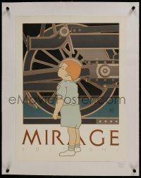 2s025 DAVID LANCE GOINES linen 18x24 art print 1980 Mirage Editions, art of child & locomotive!