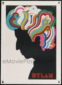 2s023 DYLAN linen 22x33 music poster 1967 colorful silhouette art of Bob by Milton Glaser!