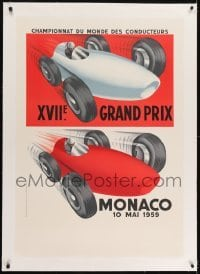 2s028 MONACO linen 27x39 French art print 1985 cool art of 1959 Formula One Grand Prix race cars!
