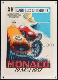 2s027 MONACO linen 27x39 French art print 1985 Minne art of 1957 Formula One Grand Prix race cars!