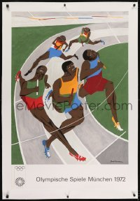 2s029 OLYMPISCHE SPIELE MUNCHEN 1972 linen 26x40 German poster 1972 Jacob Lawrence relay race art!