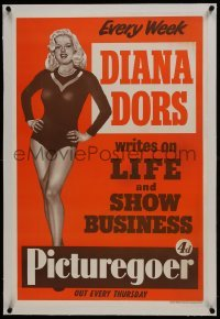 2s022 PICTUREGOER linen 20x30 English special poster 1950s Diana Dors writes life & show business!