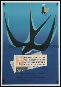 2s017 SIEDEM DNI W POLSCE linen 23x34 Polish advertising poster 1957 art of swallow with newspaper!