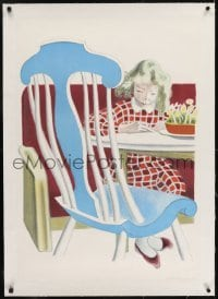 2s014 TIDENS MOBLER linen 23x34 Danish advertising poster 1942 Hansen art of girl at table!