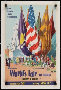 2s002 WORLD'S FAIR OF 1940 linen 13x20 special poster 1940 art of opening celebration in New York!