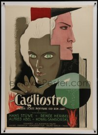 2s053 CAGLIOSTRO linen Swedish 1929 cool art of the master hypnotist in his laboratory, rare!