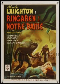 2s054 HUNCHBACK OF NOTRE DAME linen Swedish 1940 art of Charles Laughton & Maureen O'Hara, rare!