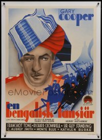 2s055 LIVES OF A BENGAL LANCER linen Swedish 1935 cool art of Gary Cooper & horse soldiers, rare!