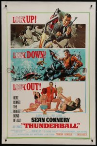 2s376 THUNDERBALL linen 1sh 1965 art of Connery as Bond by McGinnis & McCarthy, uncropped tank!