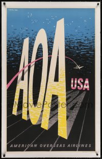 2s003 AMERICAN OVERSEAS AIRLINES linen 24x39 English travel poster 1948 LeWitt-Him airplane art!