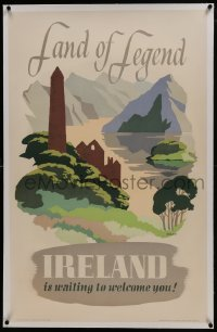 2s004 IRELAND IS WAITING TO WELCOME YOU linen 25x39 Irish travel poster 1950 Muriel Brandt art!