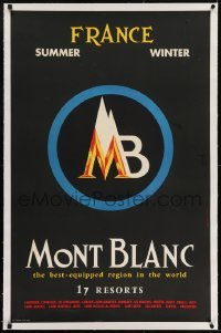 2s005 MONT BLANC linen 25x38 French travel poster 1950s the best equipped region in the world!