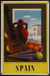2s006 SPAIN linen 25x39 Spanish travel poster 1950s Guy Georget art of guitar & fruit in window!