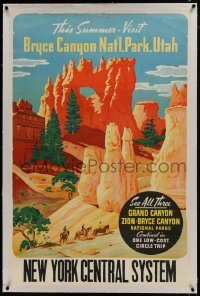 2s001 THIS SUMMER VISIT BRYCE CANYON linen 28x42 travel poster 1930s one of the Grand Canyon parks!