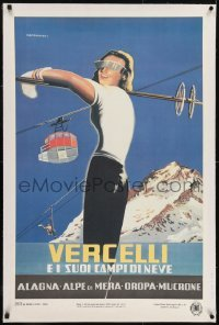 2s007 VERCELLI linen 25x38 Italian travel poster 1950s Alberto Campagnoli art of female skier!