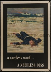2s011 CARELESS WORD A NEEDLESS LOSS linen 29x40 WWII war poster 1943 Fischer art of fallen sailor!