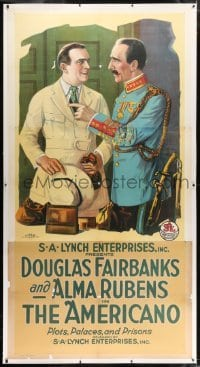 2t008 AMERICANO linen 3sh R1910s art of accidental revolutionary Douglas Fairbanks Sr., rare!