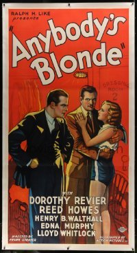 2t009 ANYBODY'S BLONDE linen 3sh 1931 reporter Dorothy Revier plays with a boxer's affections!