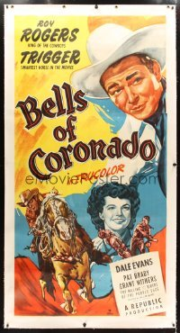 2t010 BELLS OF CORONADO linen 3sh 1950 great art of Roy Rogers & Trigger + pretty Dale Evans!