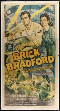 2t011 BRICK BRADFORD linen 3sh 1947 art of Kane Richmond, Amazing Soldier of Fortune, serial, rare!