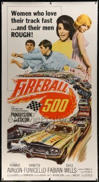 2t013 FIREBALL 500 linen 3sh 1966 Frankie Avalon & sexy Annette Funicello, stock car racing art!