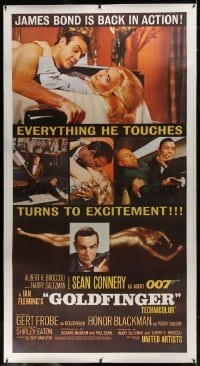 2t014 GOLDFINGER linen 3sh 1964 three great images of Sean Connery as James Bond 007!