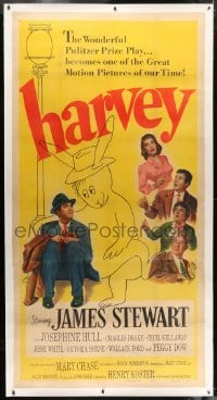 2t015 HARVEY linen 3sh 1950 great image of James Stewart sitting with 6 foot imaginary rabbit, rare!