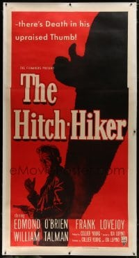 2t016 HITCH-HIKER linen 3sh 1953 different film noir image of man with upraised thumb & shadow!