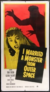 2t017 I MARRIED A MONSTER FROM OUTER SPACE linen 3sh 1958 terrified Gloria Talbott & alien shadow!