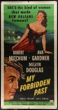 2t019 MY FORBIDDEN PAST linen 3sh 1951 Ava Gardner is the kind of girl that made New Orleans famous!