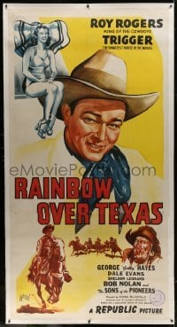 2t021 RAINBOW OVER TEXAS linen 3sh 1946 art of Roy Rogers, sexy Dale Evans, Trigger & Gabby Hayes!