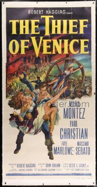 2t022 THIEF OF VENICE linen 3sh 1952 great art of Paul Christian carrying sexy Maria Montez!