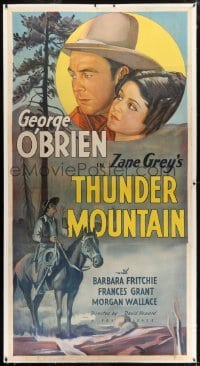 2t023 THUNDER MOUNTAIN linen 3sh 1935 stone litho of George O'Brien & Grant, Zane Grey, rare!