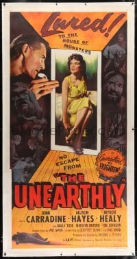 2t024 UNEARTHLY linen 3sh 1957 John Carradine & sexy Allison Hayes lured to the house of monsters!