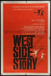2t002 WEST SIDE STORY linen pre-Awards Z 40x60 1961 Academy Award winning musical, Joseph Caroff art