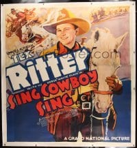 2t006 SING COWBOY SING linen 6sh 1937 incredible huge artwork of Tex Ritter & his horse White Flash!