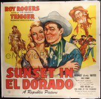 2t007 SUNSET IN EL DORADO linen 6sh 1945 different art of Roy Rogers, Trigger & sexy Dale Evans!