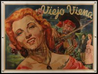 2t028 NEW WINE linen Argentinean 43x58 R1946 art of man playing violin for Ilona Massey by Venturi!