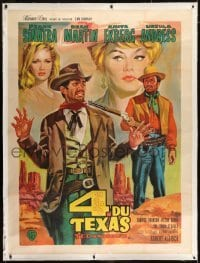 2t036 4 FOR TEXAS linen French 1p 1964 Sinatra, Martin, Ekberg, Andress, Aldrich, Jean Mascii art!
