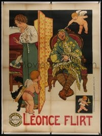2t042 LEONCE FLIRT linen French 1p 1913 great art of sleeping man with Cupid & cherub, Gaumont!