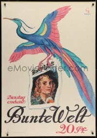 2t112 BUNTE WELT German 33x47 1930 Christophe art of colorful bird carrying issue of the magazine!